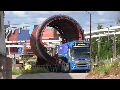 100 ton´s Heavy Haulage | Transport of a debarking drum | Volvo FH16 8x4 750hp