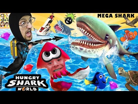 Thumbnail: HUNGRY SHARK WORLD! MegaMouth Sharks' Eat Everything, Even BOMBS! FGTEEV Attack At Sea! HEHE