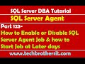 SQL Server DBA Tutorial 123-How to Enable or Disable SQL Server Agent Job & Start Job at Later days