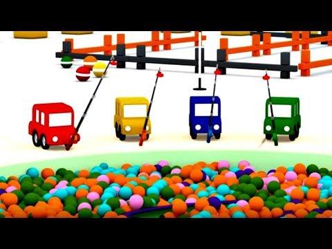 4 carros coloridos. Um barco. Desenhos animados.