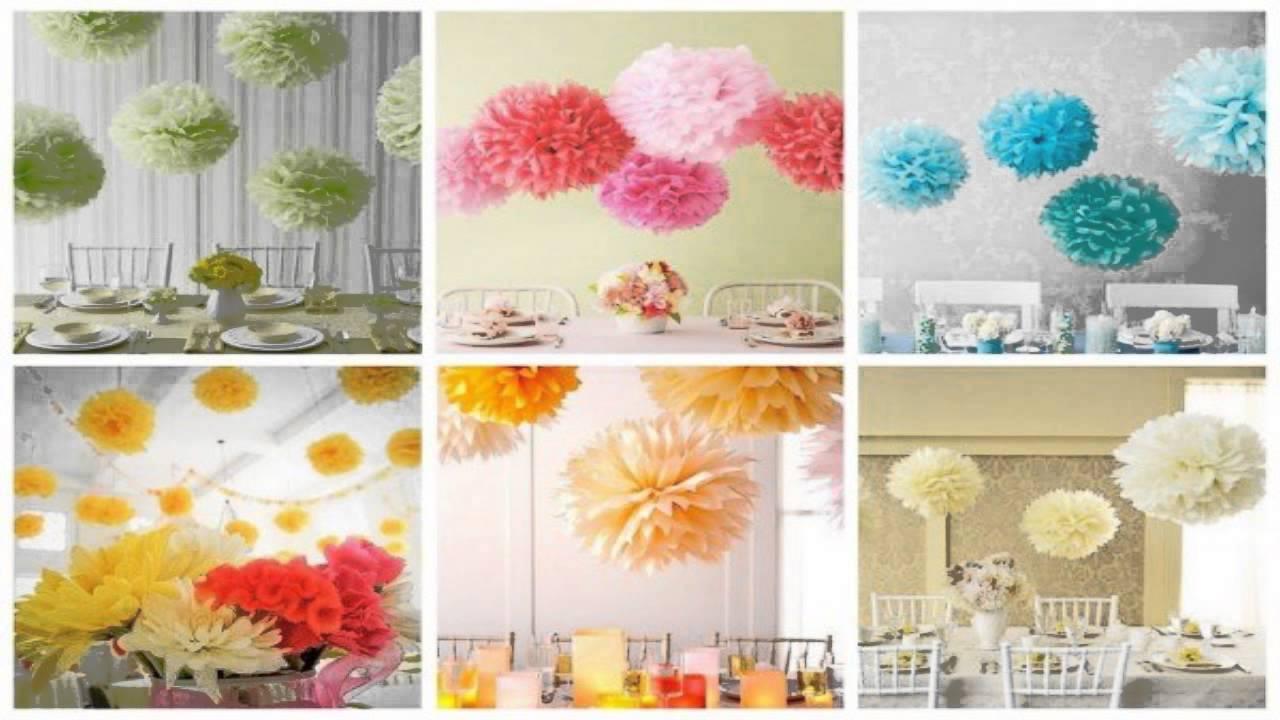 Como hacer pompones de papel china youtube - Como hacer pompones para decorar fiestas ...