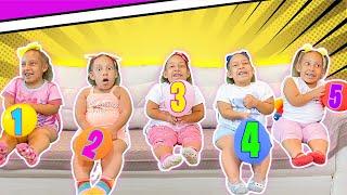 Maria Clara em uma história para crianças sobre números e balões coloridos - MC Divertida