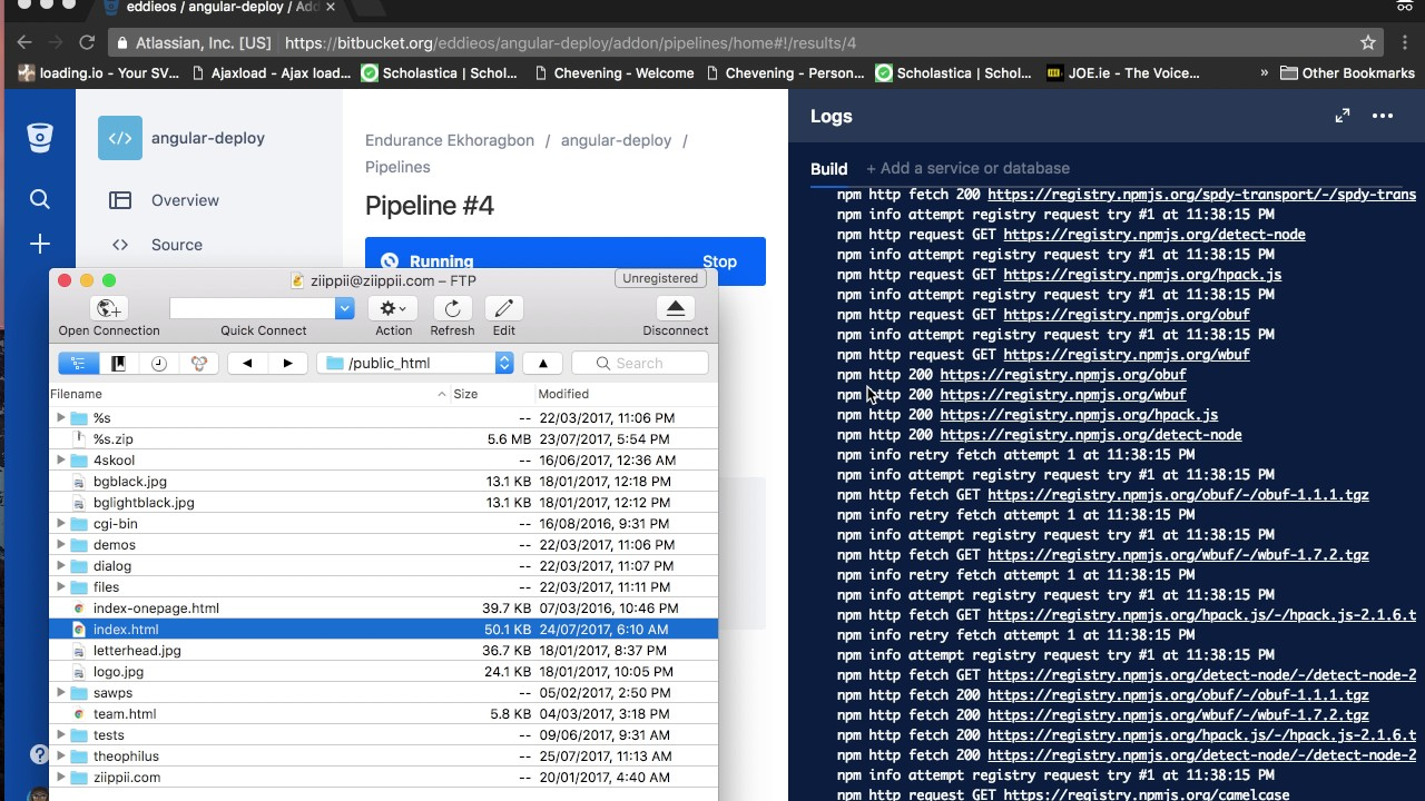 Bitbucket pipeline + Shared Server(or heroku) + Angular