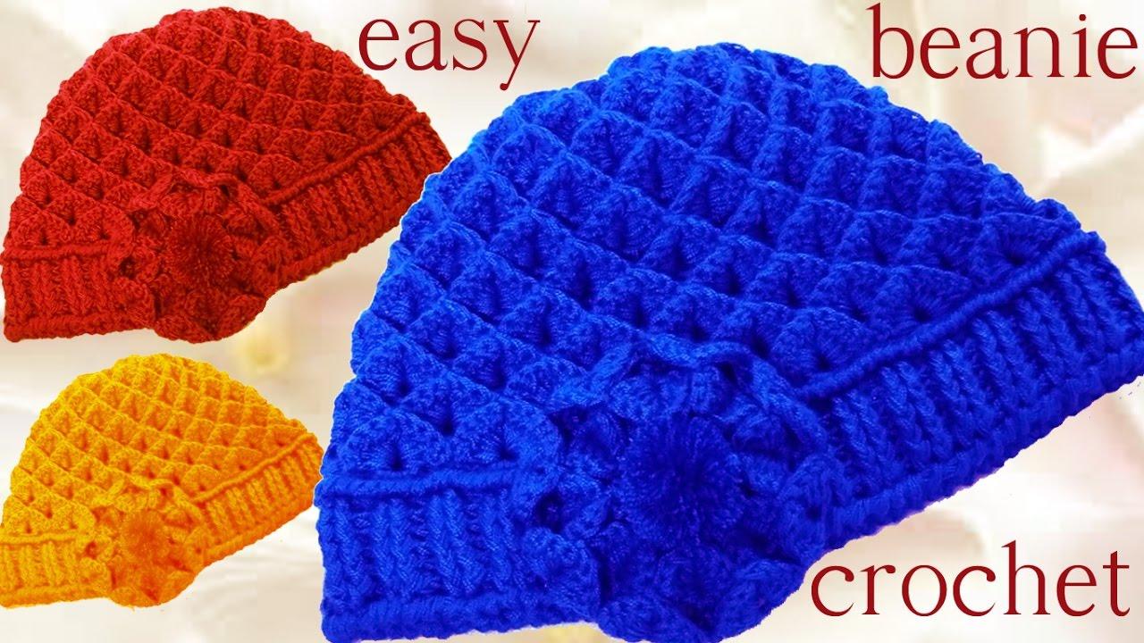 Gorro boina en punto cocodrilo tejido a Crochet o Ganchillo - YouTube