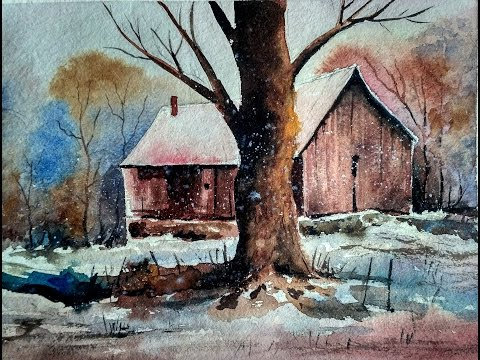 HOW TO PAINT WATERCOLOR LANDSCAPE:OLD HOUSE | PAINT WITH DAVID |