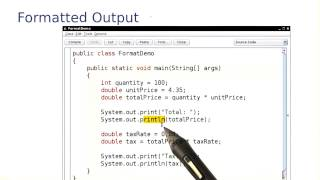 Formatted Output - Intro to Java Programming