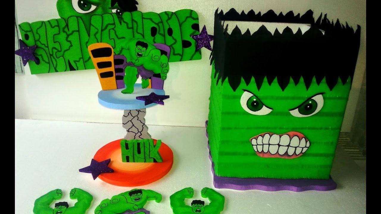 como decorar una fiesta infantil de hulk - YouTube