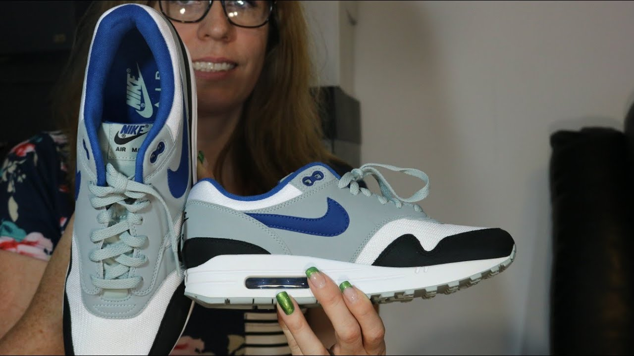 91f899e67b Nike Air Max 1 Gym Blue Review & On Feet w/ The Wife! - YouTube