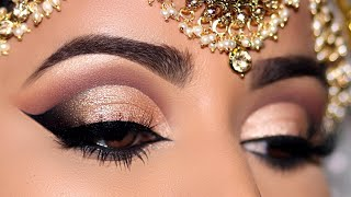 How To: STEP-BY-STEP INDIAN/ASIAN BRIDAL EYE MAKEUP| Universal Neutral Gold CutCrease