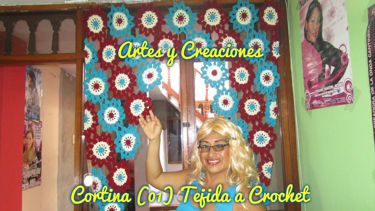 Cortina 01 tejida a crochet 3era parte youtube - Ver cortinas para cocina ...