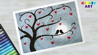 Как нарисовать дерево с птичками масляной пастелью - Рисунок на день святого Валентина