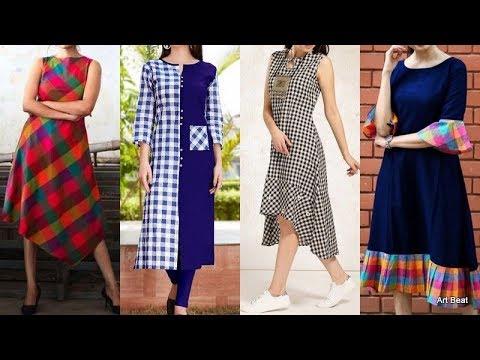 Stylish Checks Kurti Designs Beautiful Designer Kurtis Catalogue Youtube