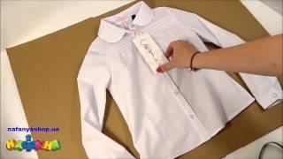 Sasha Блуза школьная для девочки цвет белый воротник со стразами р 122 140 арт 3153