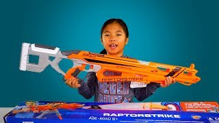 "NERF Sniper Rifle RaptorStrike from Toys""R""Us Unboxing and Test Shoot"