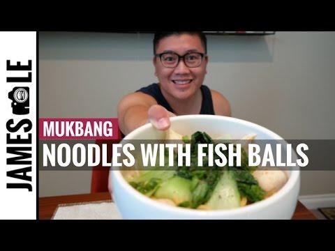 NOODLES MUKBANG - Fish Balls With Roe, Bok Choy And Chili Oil Sauce