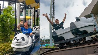 Riding the Weird Panda Roller Coaster at Adventure World in Japan