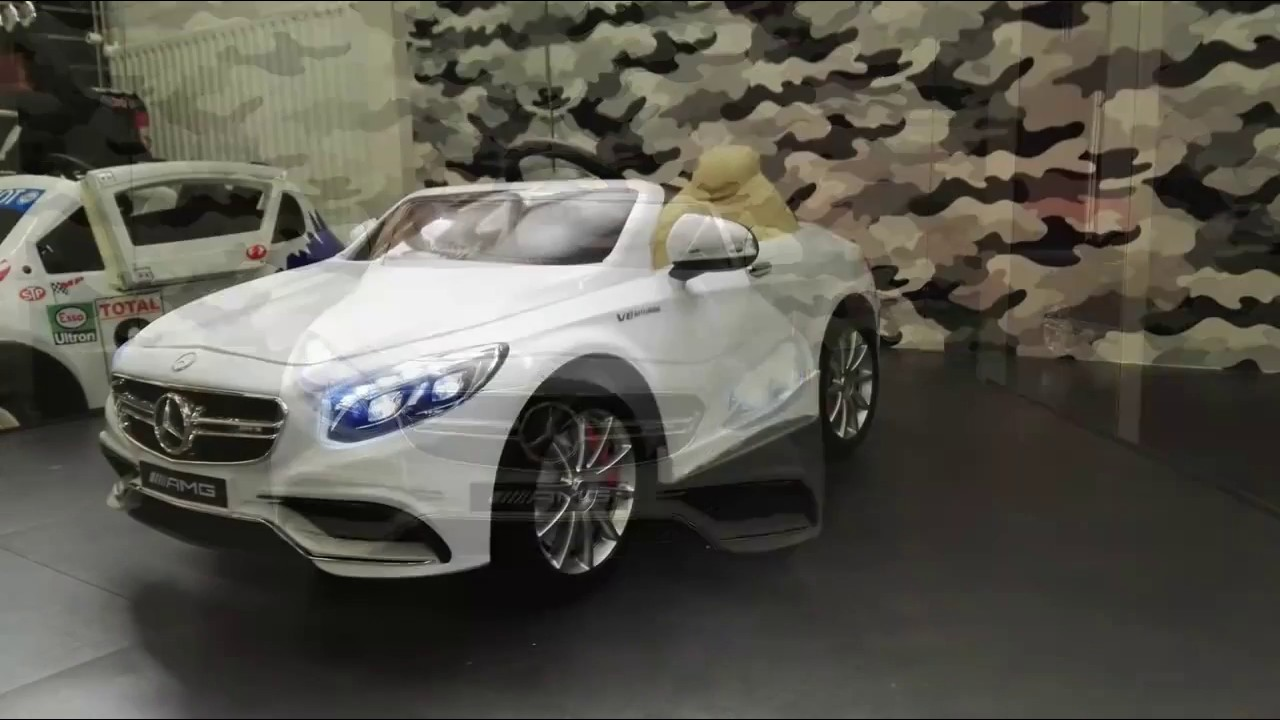 elektrische kinderauto mercedes s63 amg wit youtube. Black Bedroom Furniture Sets. Home Design Ideas