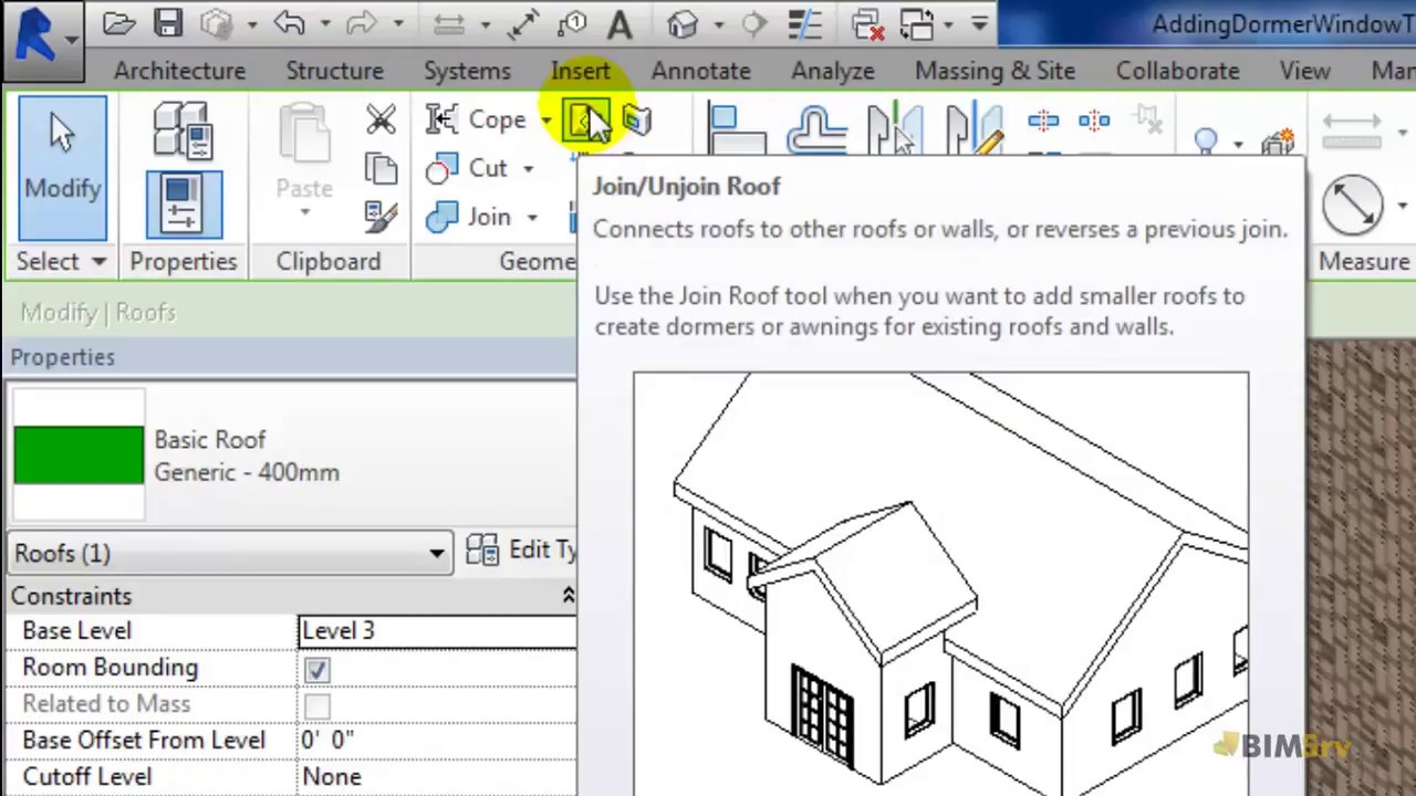 Revit - Adding Dormer Window to Sloping Roof - YouTube