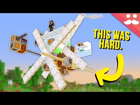 I made a wind powered airship in Minecraft. It actually works.