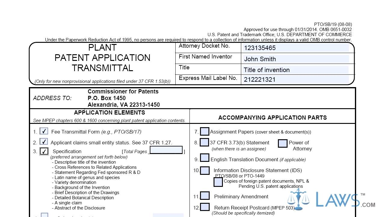 Plant Patent Application Transmittal SB0019 - YouTube