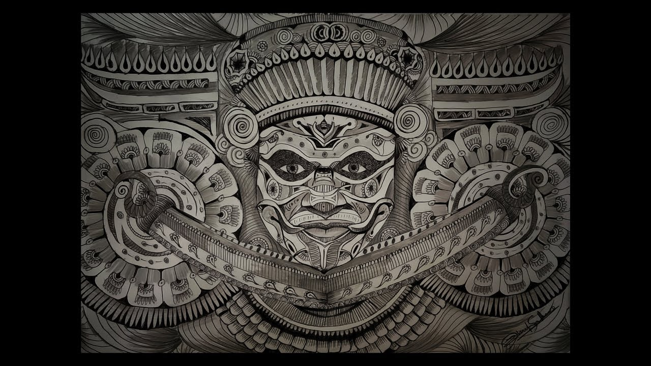 Theyyam doodle pencil drawing art of theyyam ritual form of worship time lapse rahul sekhar