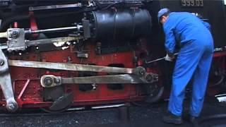 Schneebergbahn – cogwheel steam locomotive being lubricated