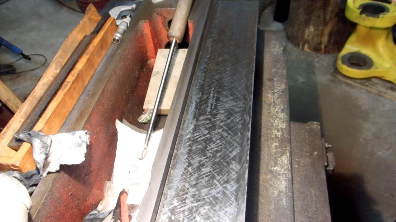 6T12 across ways repair project - Hand scrape