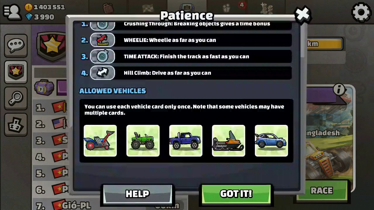 Hill Climb Racing 2 || Patience New Team Event