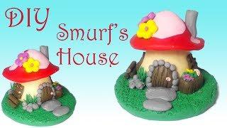 Miniature Mushroom Smurfs House | Polymer Clay |
