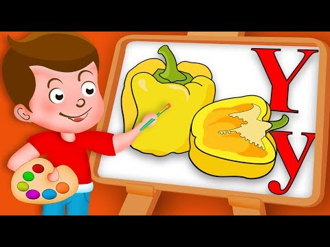 Drawing Alphabet Y with Yellow paprika Vegetable Paint And Colouring For Kids kids Drawing TV