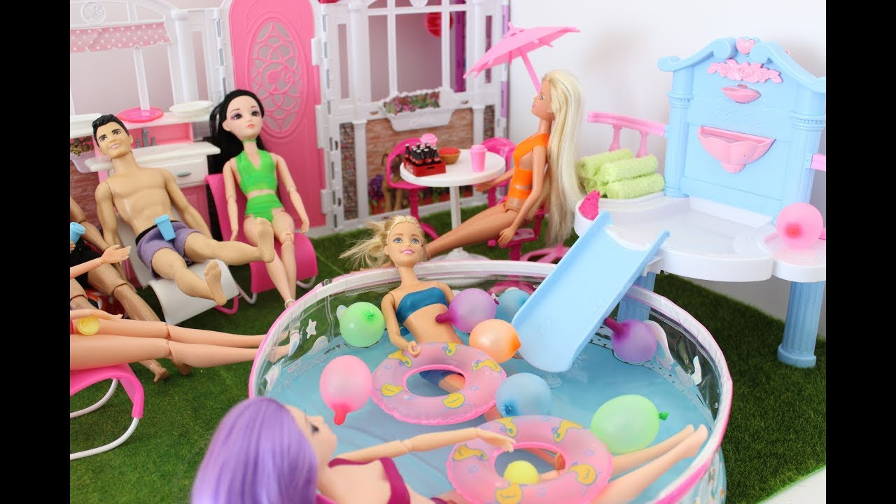 Barbie Summer Fountain Swimming Pool Party With Friends