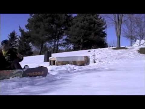 Backyard homemade terrain park snowboarding crash edit ...