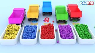 Colors For Children To Learn With Street Vehicles #v | Colours Water Truck & Soccer Balls for Kids