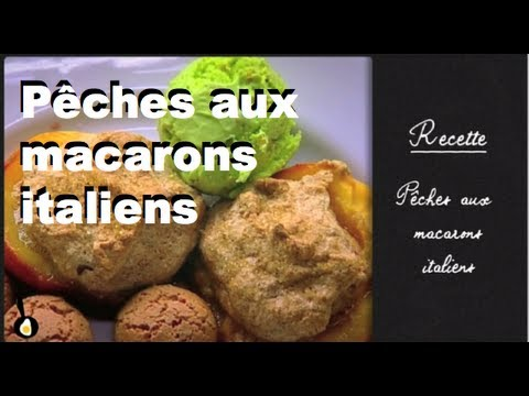 les-recettes-de-julie-andrieu-:-pêches-aux-macarons-italiens