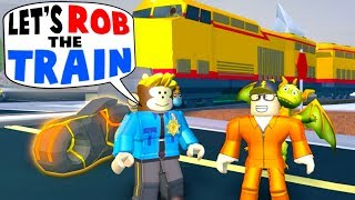 Robbing the train for max cash on our stolen volt bike in Jailbreak...