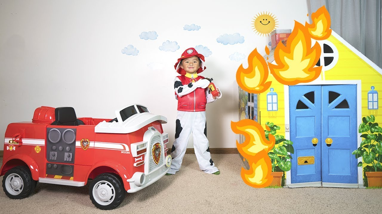 Paw Patrol Marshall Fire Truck Ride On Toy Pretend Play To The Rescue