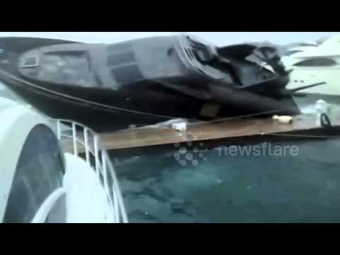 Yacht nearly capsized by hurricane Carlos