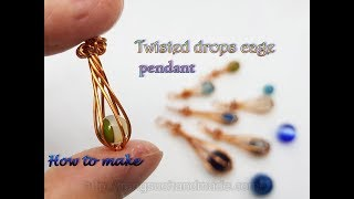 Twisted drops cage pendant with small spherical stones - with hole or without holes 519