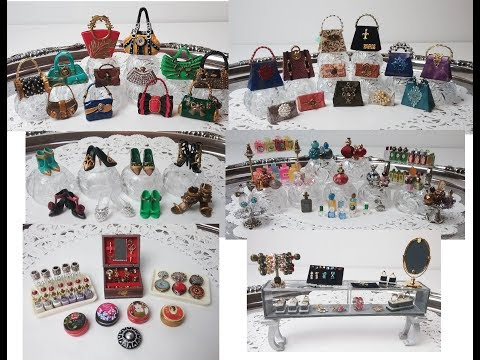 MINIATURE PURSES, SHOES, PERFUME BOTTLES, COSMETICS & JEWELRY