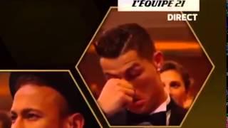 Cristiano Ronaldo Reaction when Messi wins his 5th Ballon D'Or 2015