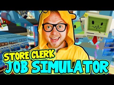 SquiddyPlays - JOB SIMULATOR! (HTC Vive) - STORE CLERK!