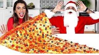 صنعت اكبر بيتزا في العااالم | واتحديت بابا نويل ياكلها معي !! 🍕