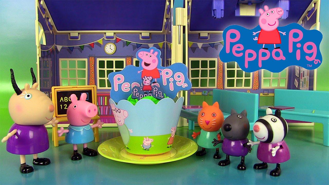 peppa pig school play doh house playset histoire ecole et salle de classe jouets youtube. Black Bedroom Furniture Sets. Home Design Ideas