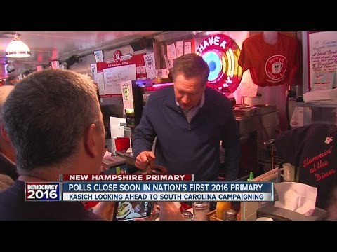 Gov. John Kasich serving up coffee for votes this morning in New Hampshire