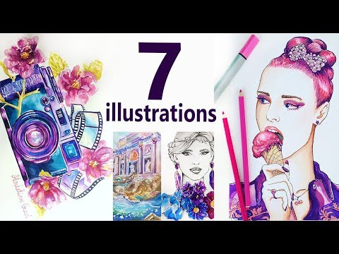 7 watercolor illustrations by Madeline Gavi. Speed Painting