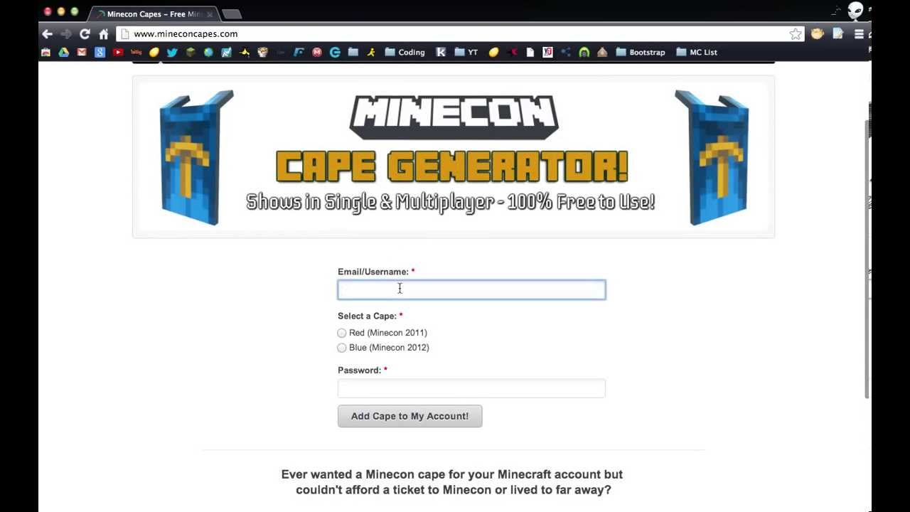 how to get a free minecon cape
