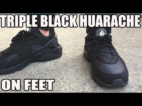 Nike Huarache Run 'Triple Black' On Feet Look