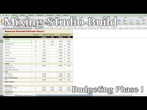 Mixing Studio Build - Phase I Budget Estimate