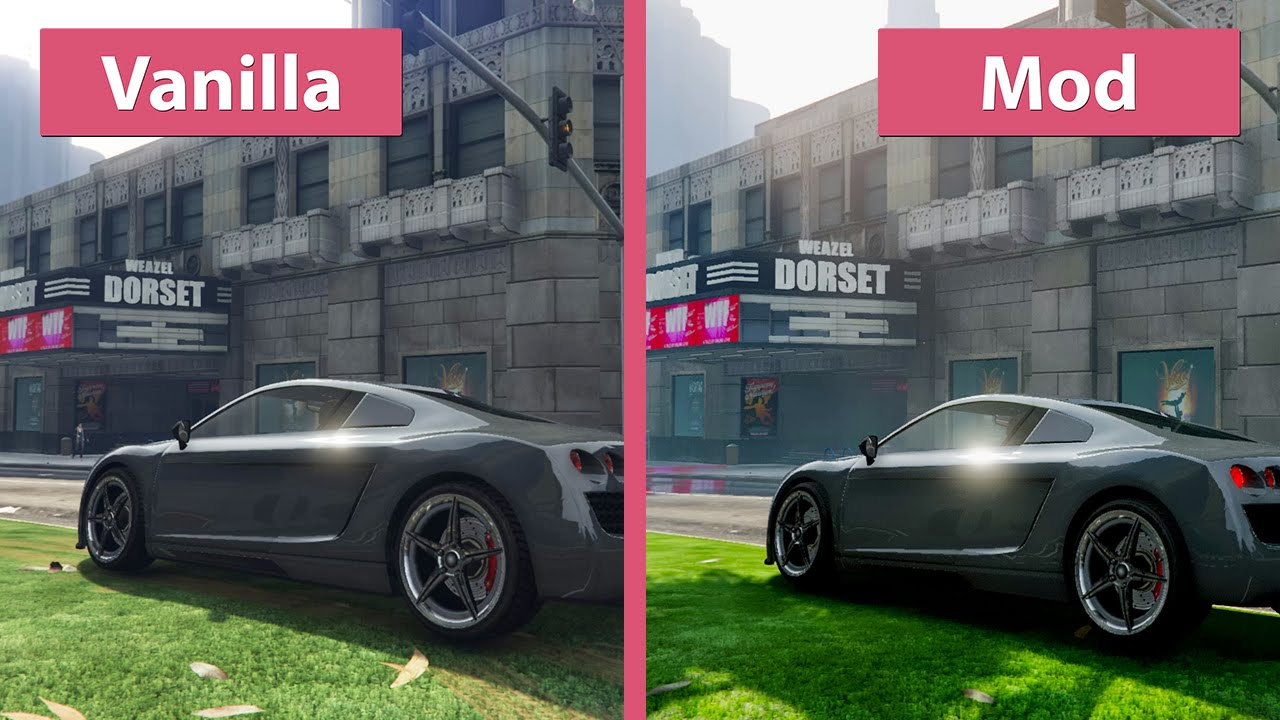 Gta  Grand Theft Auto V Maximum Graphics Pinnacle Mod Vs Vanilla Graphics Comparison Youtube