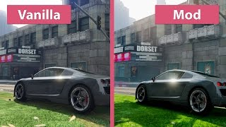 GTA 5 Grand Theft Auto V Maximum Graphics Pinnacle Mod vs. Vanilla Graphics Comparison